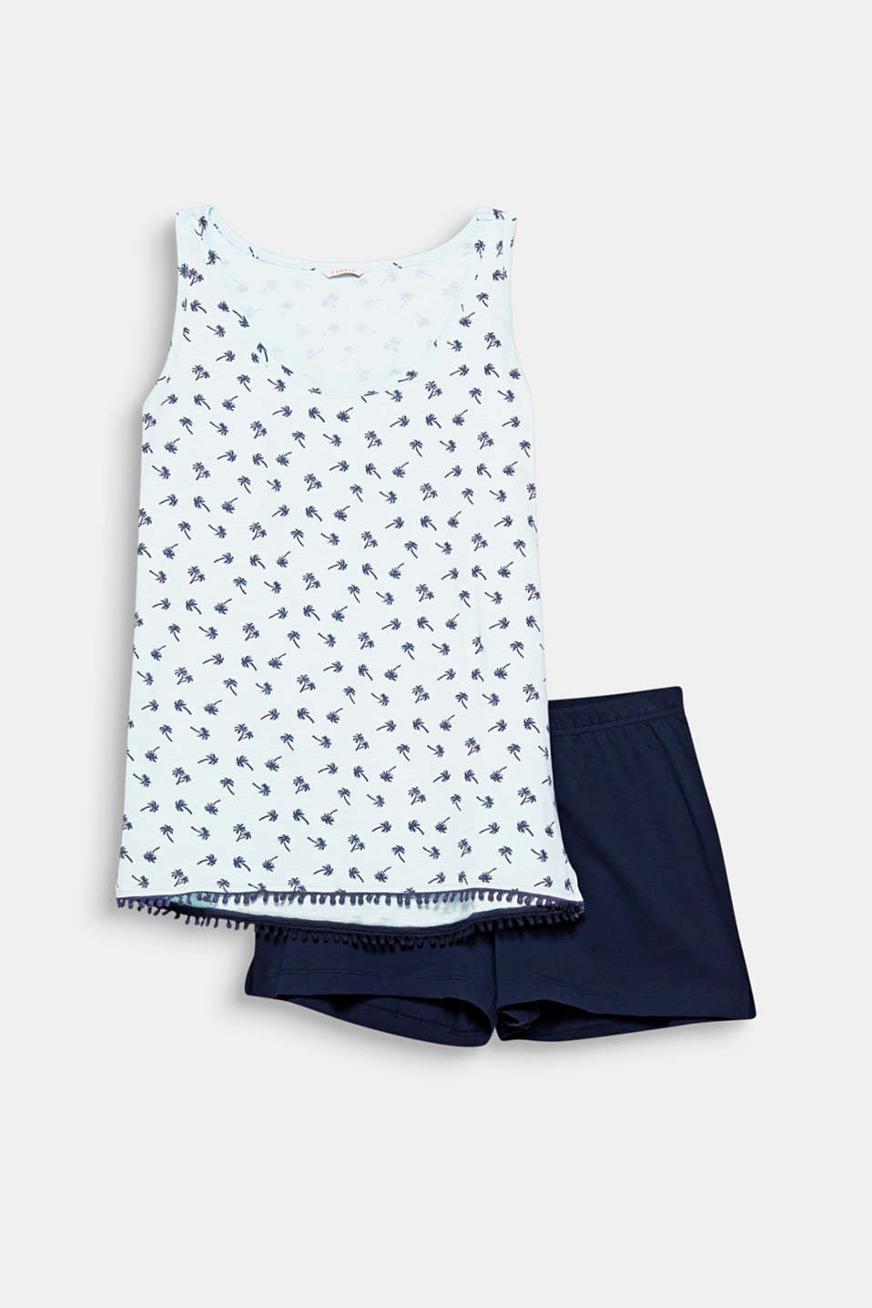 De look van deze pyjama met een gedessineerde slub jersey top en effen short is superzomers.