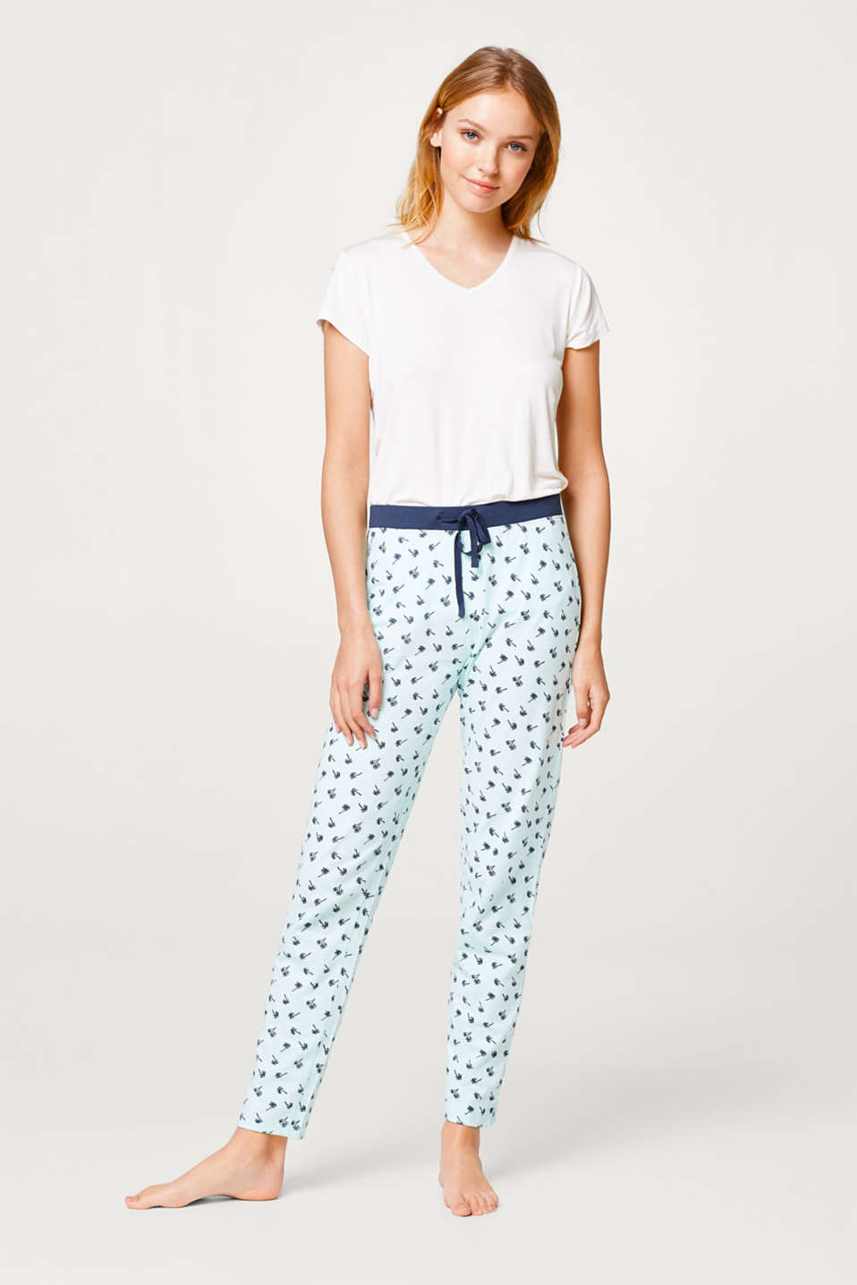 Esprit - Slub jersey trousers with a print, 100% cotton