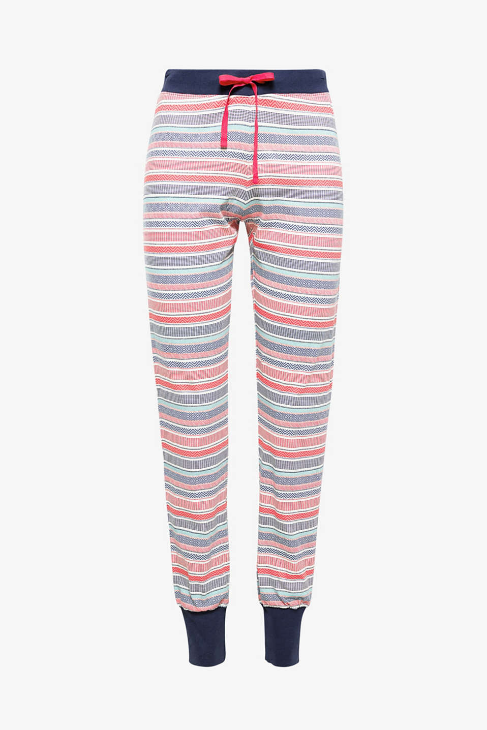 The graphic mixed patterns combined with ribbed leg cuffs give these soft jersey bottoms their cheerful look!