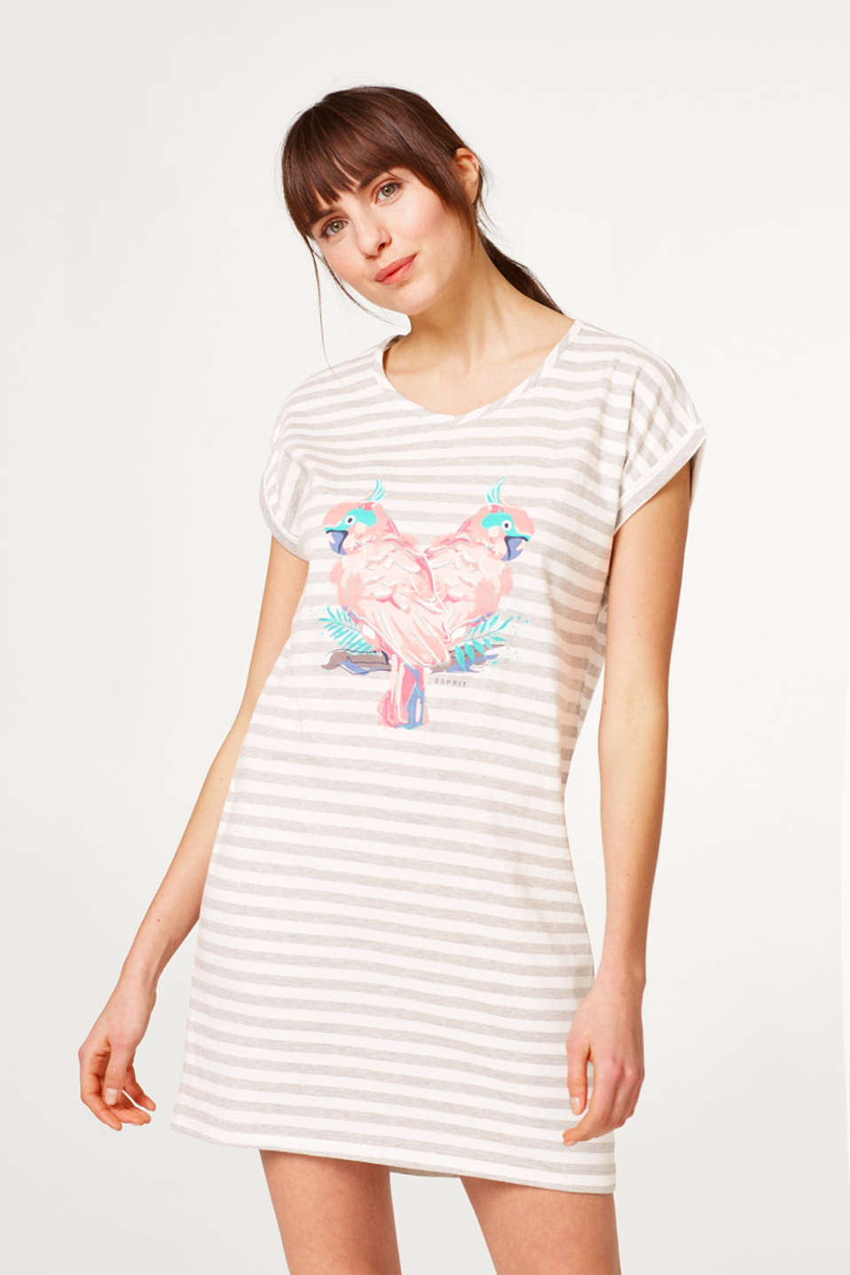Jersey nightshirt with stripes and a print