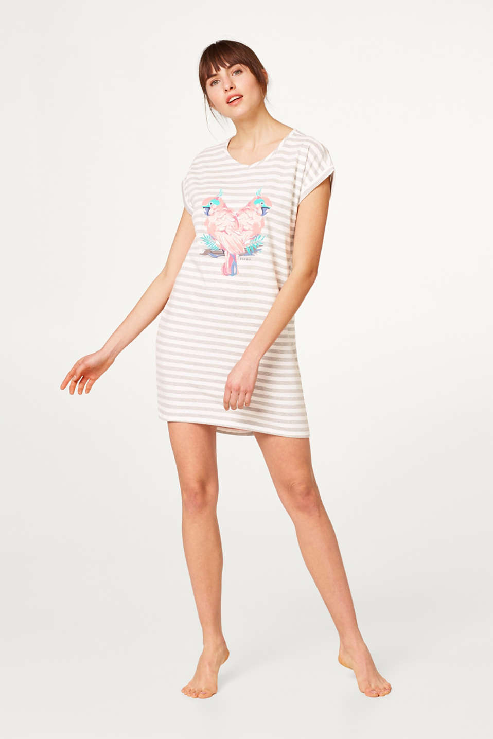 Esprit - Jersey nightshirt with stripes and a print