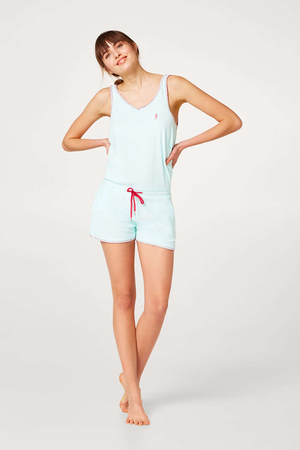 Esprit - Jumpsuit in lightweight terry towelling, cotton blend