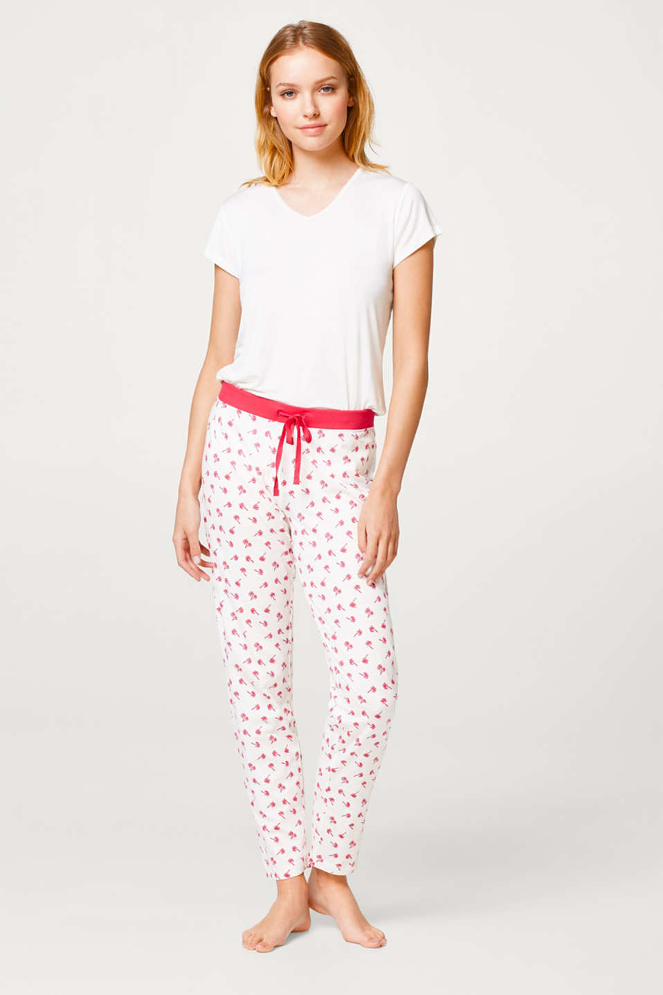 Esprit - Floaty slub trousers with a print, 100% cotton