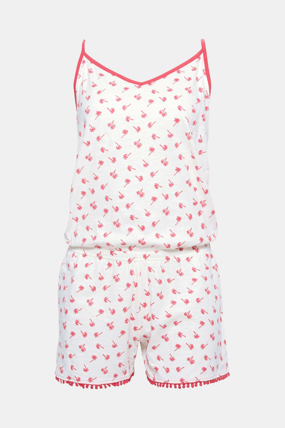 This airy textured slub jersey jumpsuit with a pretty palm print and polka dot borders comes in a super summery style!