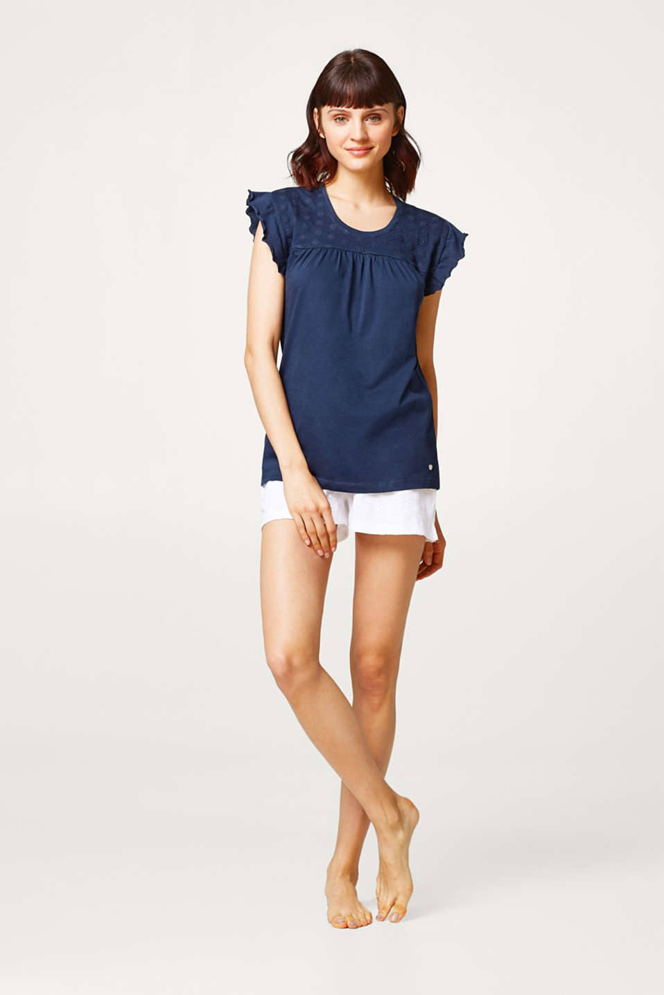 Esprit - Top with embroidery and frills, 100% cotton
