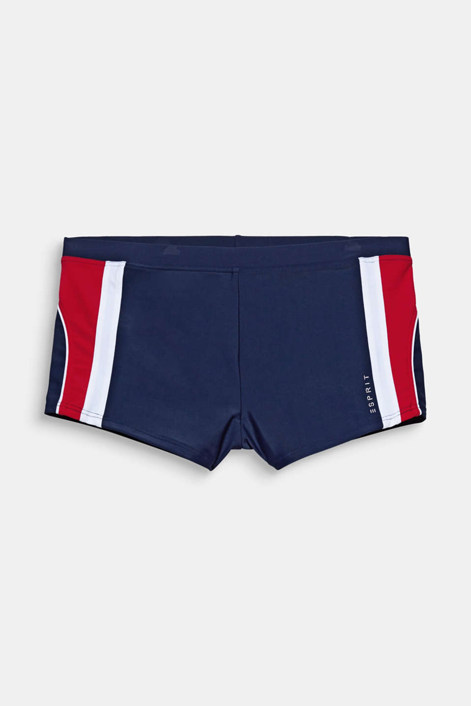 We are into sporty retro looks! Close-fitting swim shorts with colour blocking on the side.