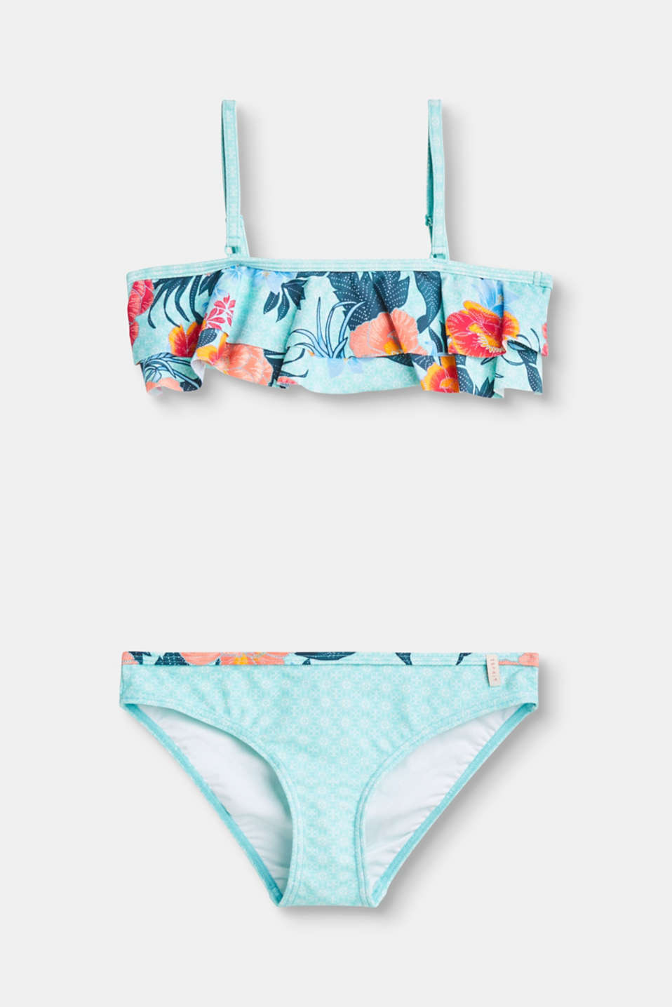 A crop top trimmed with two flounces and a colourful floral print define the style of this bikini set.