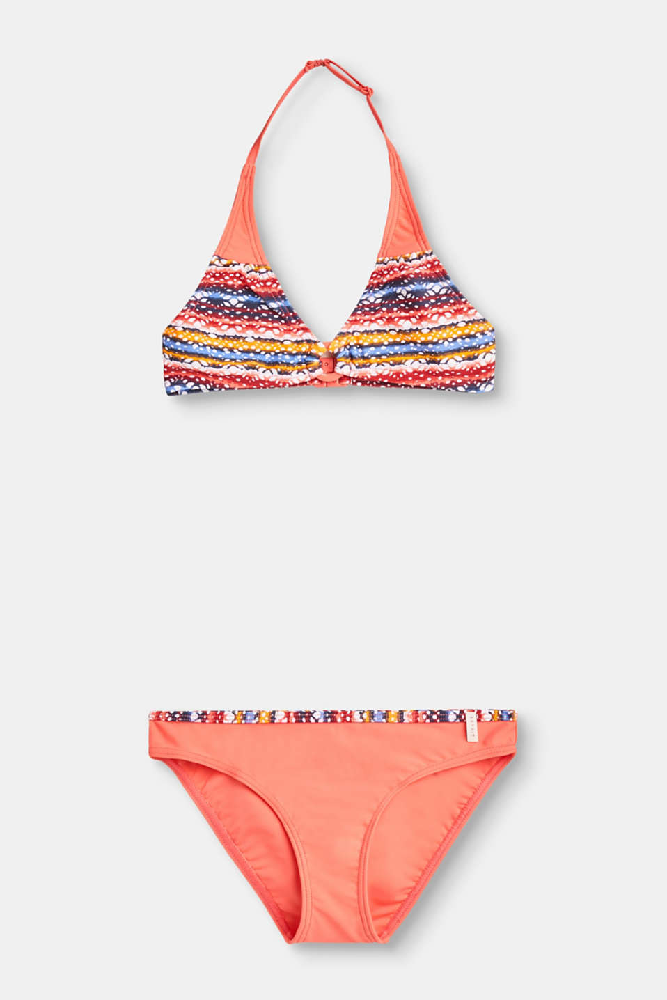 Puts us in the mood for sun, sun and the beach: halterneck bikini set with a colourful graphic print.
