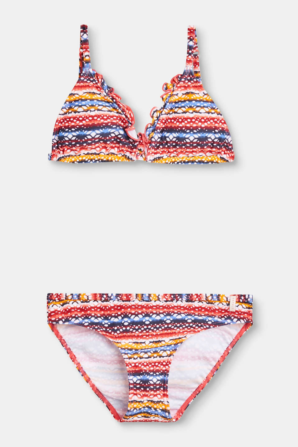 The colourful all-over print and straps with a frilled trim make this bikini a trendy eye-catcher.