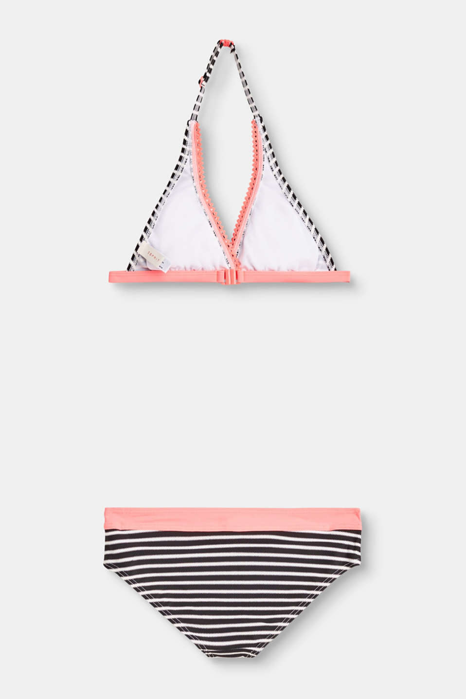 Halterneck bikini set with striped print