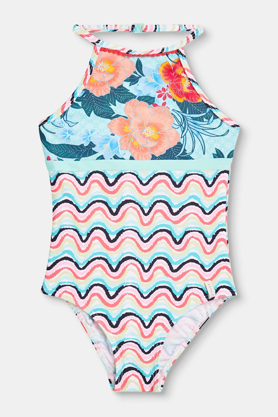 Esprit - Halterneck swimsuit with a colourful print