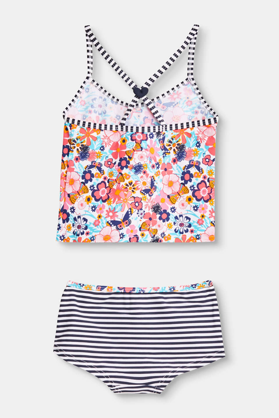 Tankini set with flowers and stripes
