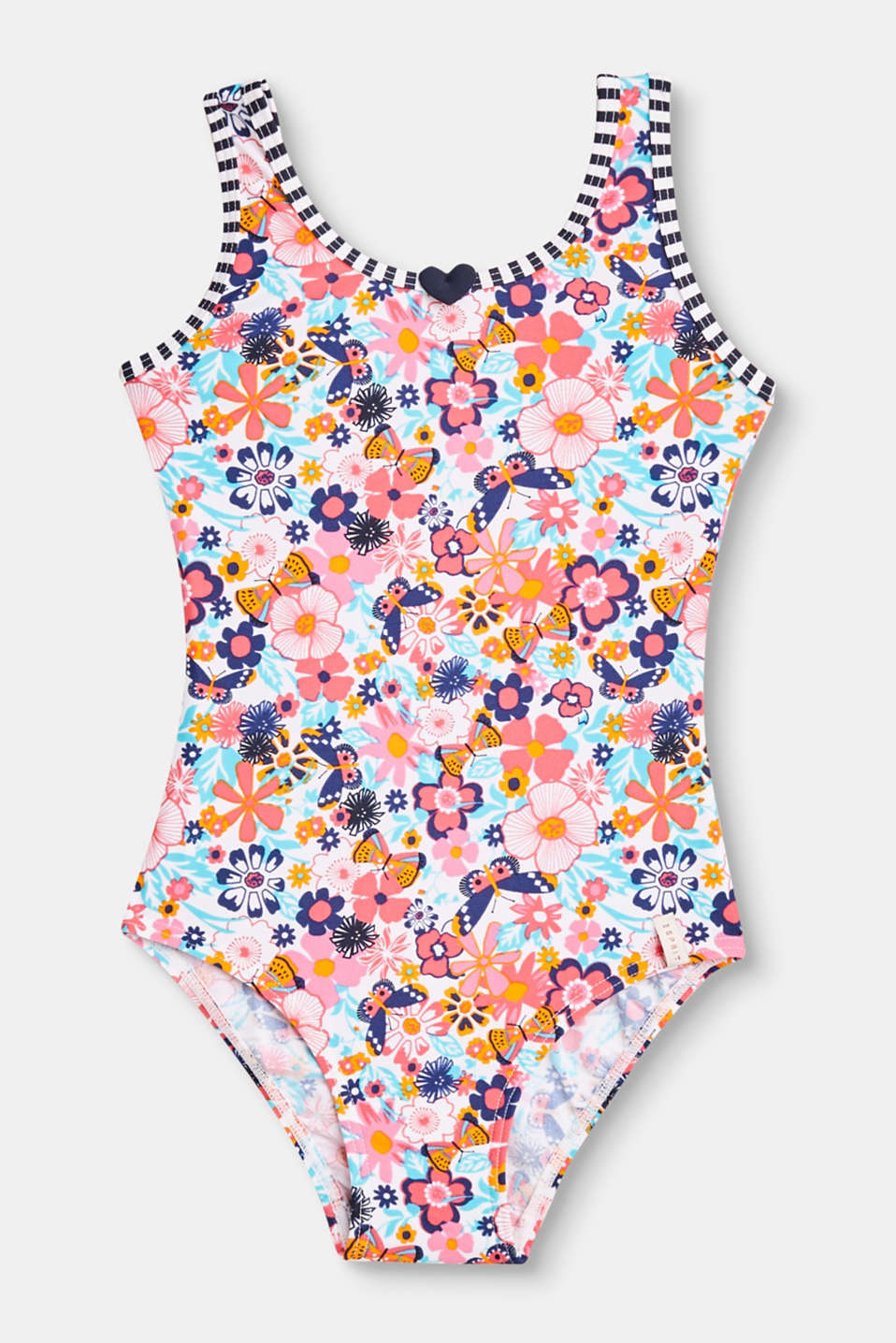 Esprit - Swimsuit with a colourful floral print
