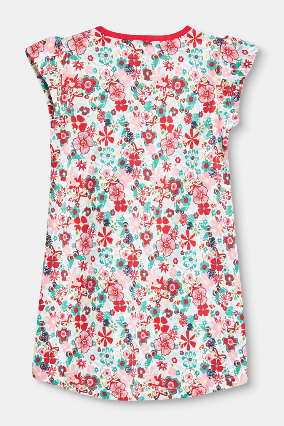 Nightshirt with a floral print in stretch cotton