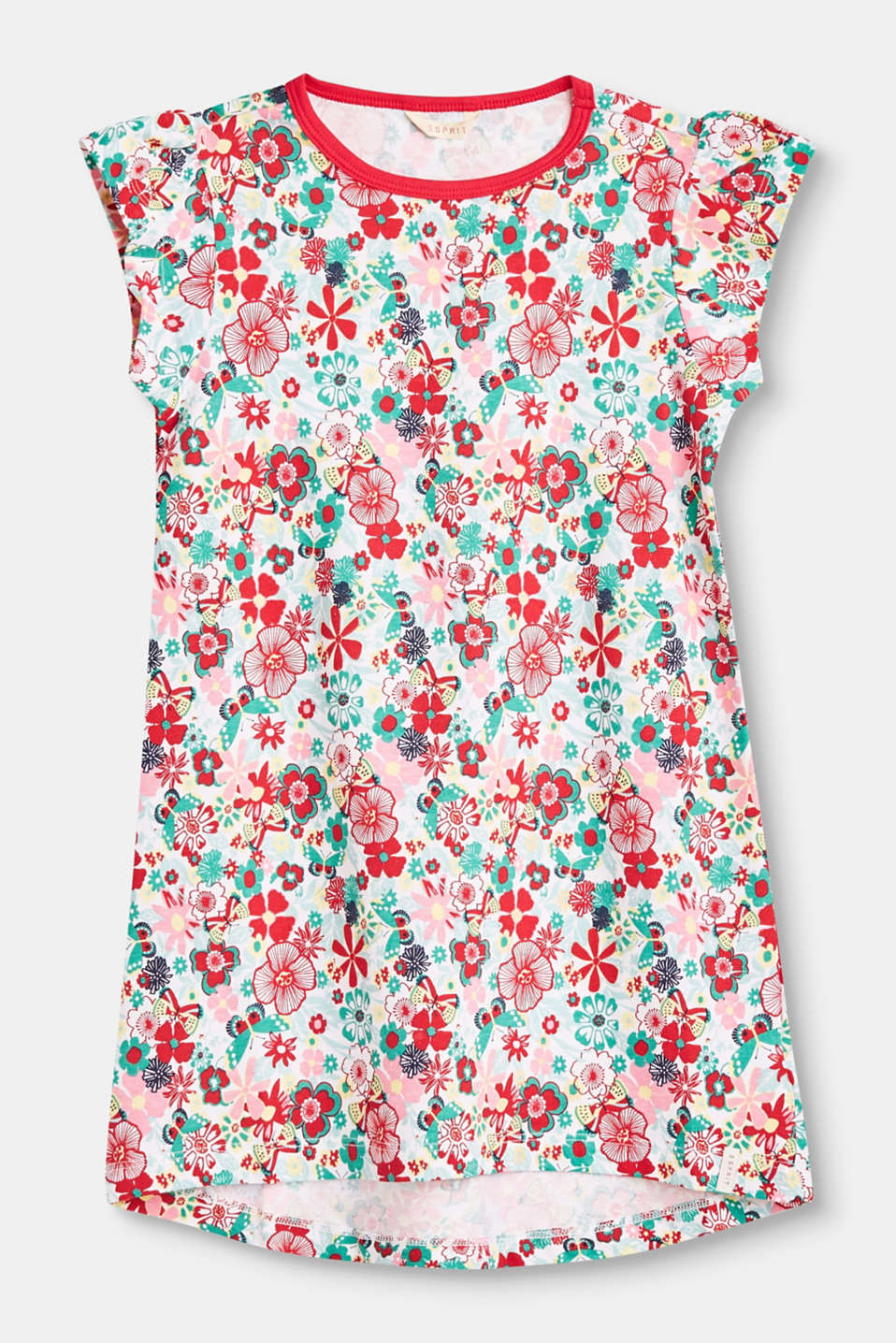 Esprit - Nightshirt with a floral print in stretch cotton