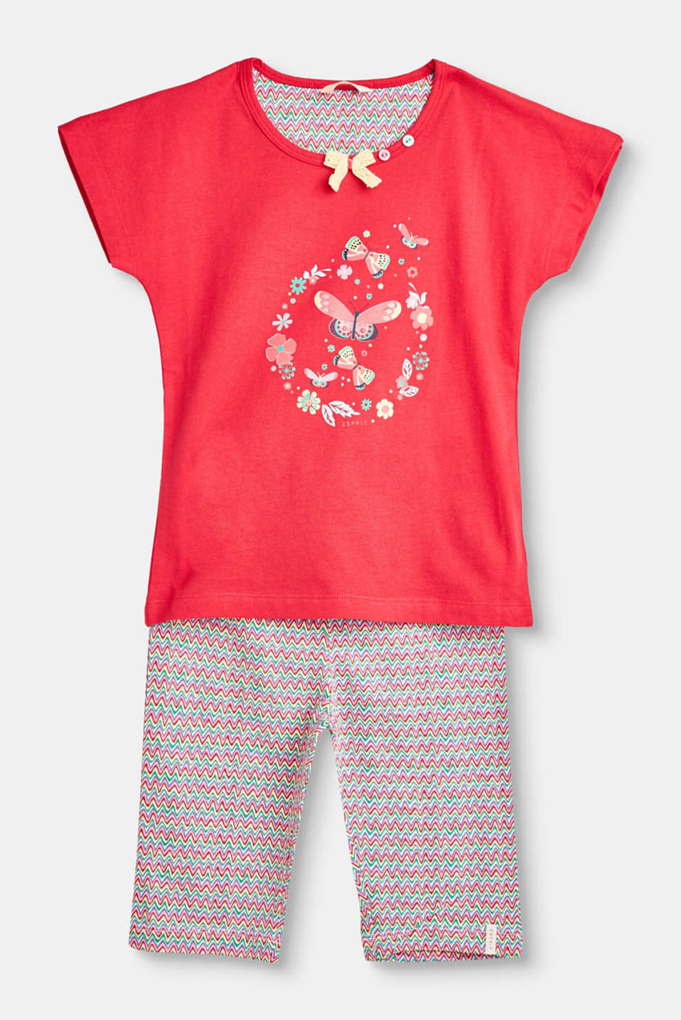 So cute: These soft jersey pyjamas feature a butterfly print on the front and colourful bottoms.