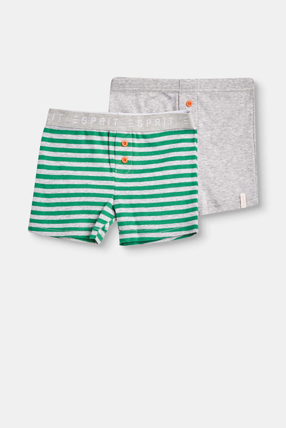 Whether in a striped look or with a fine melange finish: These soft jersey shorts in a practical double pack are super comfy and simply cool.