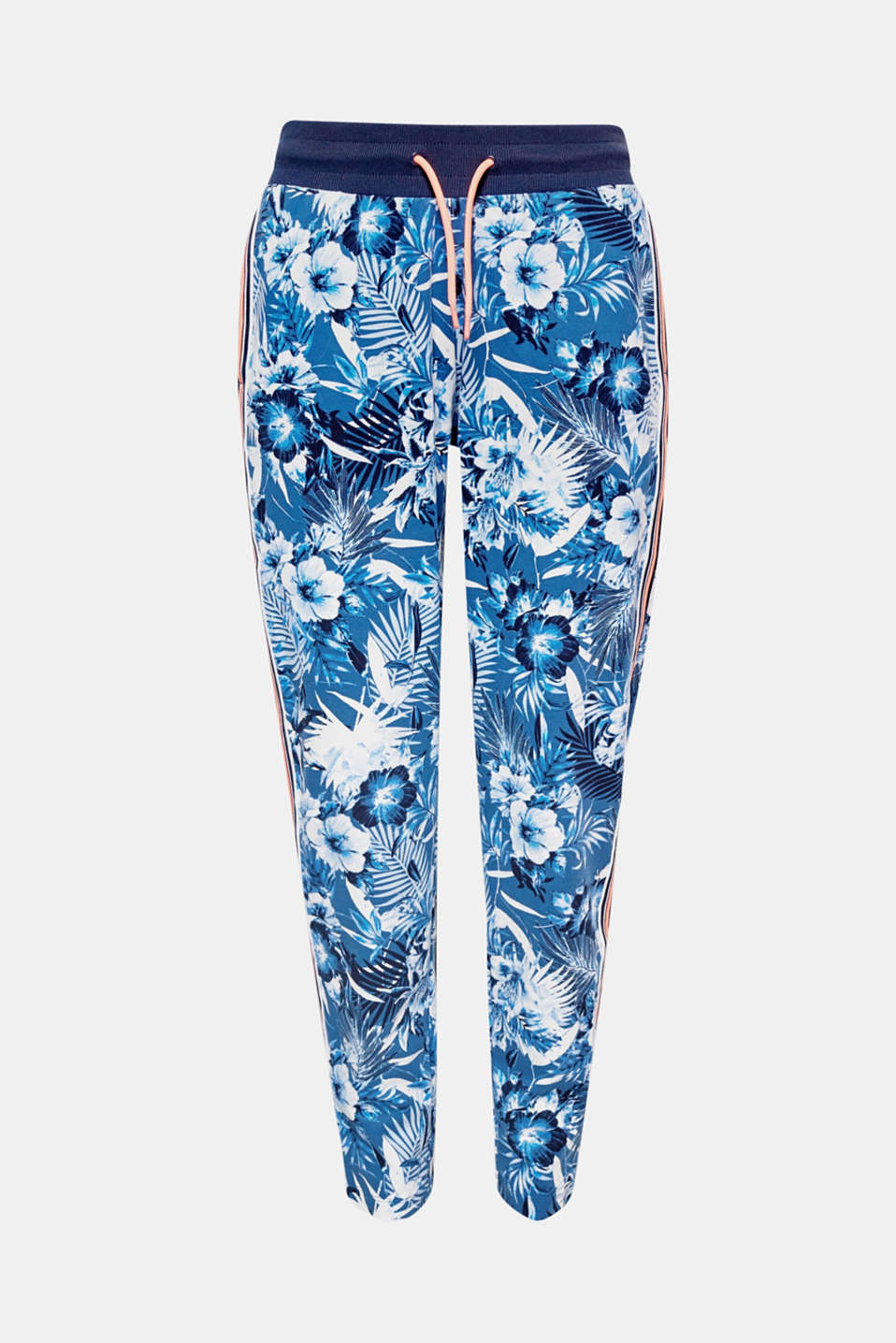 The bold floral print and neon-coloured tuxedo stripes make these dense jersey tracksuit bottoms particularly stylish!