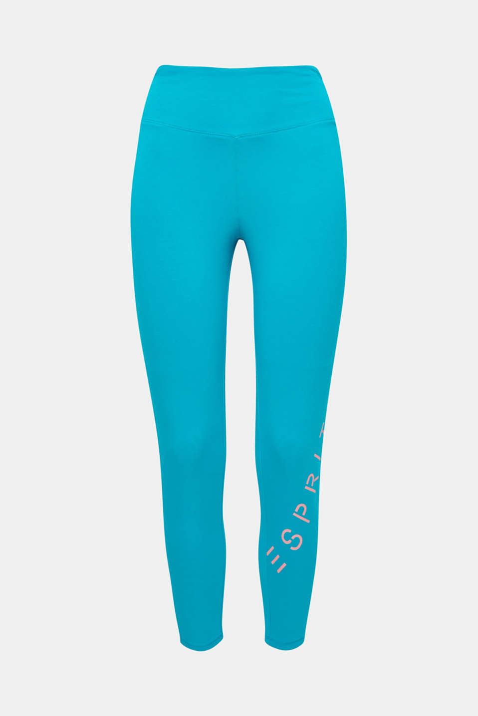 Super comfy and super smart: Active leggings with a wide waistband and reflective logo lettering.