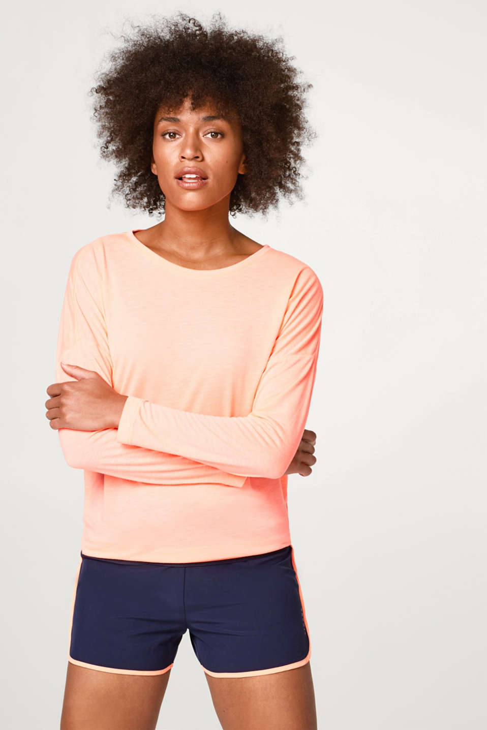 Esprit - Soft long sleeve top with a striped hem