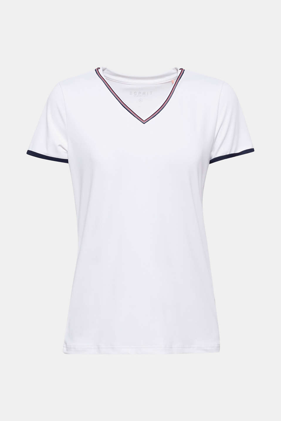 This slightly fitted active top looks not only simple, but also trendy and sporty with its embellished V-neckline and contrasting trims on the sleeves.