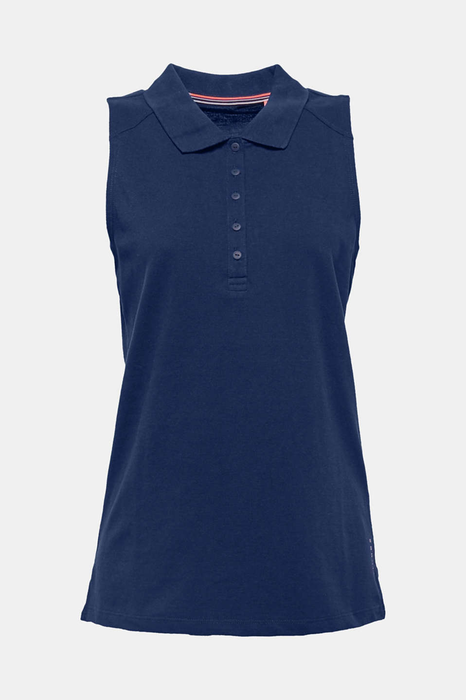 A great mix and match essential, this sleeveless piqué top comes with a polo collar, a long button placket and hem slits and is perfect for sport and leisure!