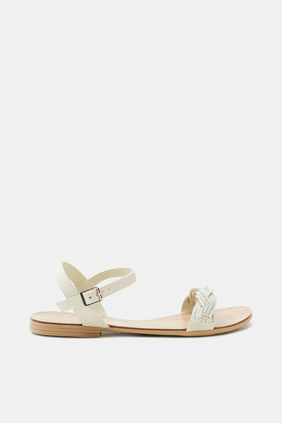 Esprit - Flat sandals with leather straps and glittering stones