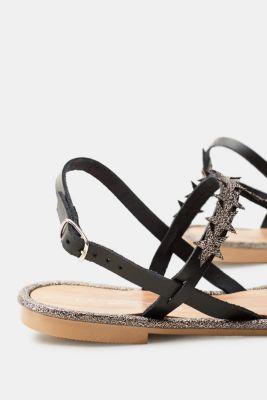 Sandales Plates En Cuir Avec Des Étoiles Décoratives Pour Les Femmes Noires Esprit sK6vJCOQC