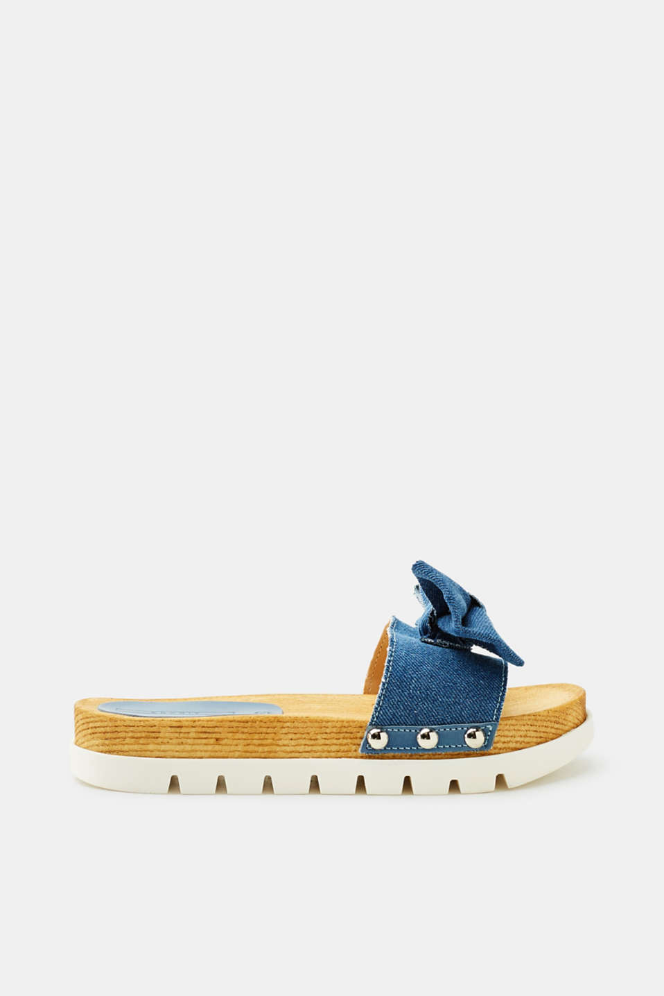Esprit - Denim mules with a platform sole in a wooden look