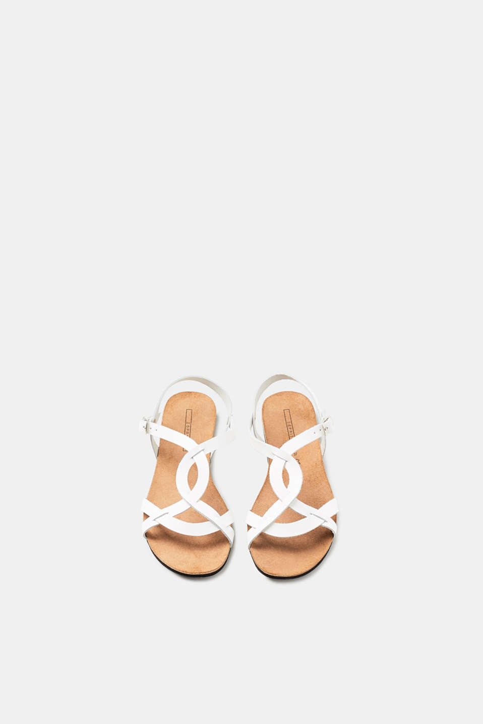 Flat sandals with leather straps and a leather sole