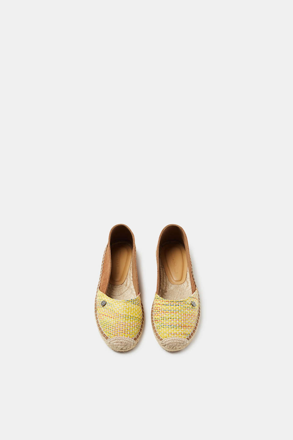Brightly coloured woven espadrilles