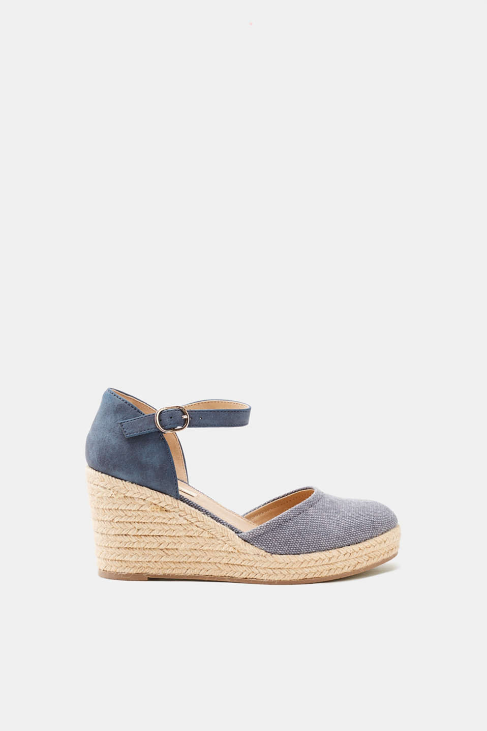 Esprit - Wedge espadrilles with a bast sole and material mix