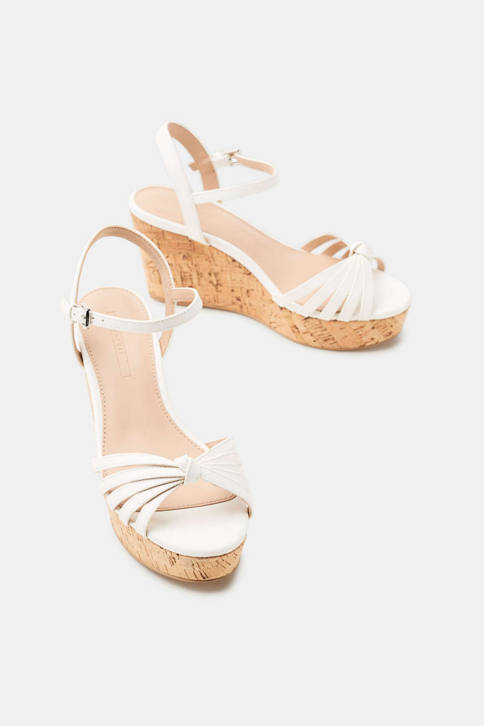 Cork-effect wedge sandals