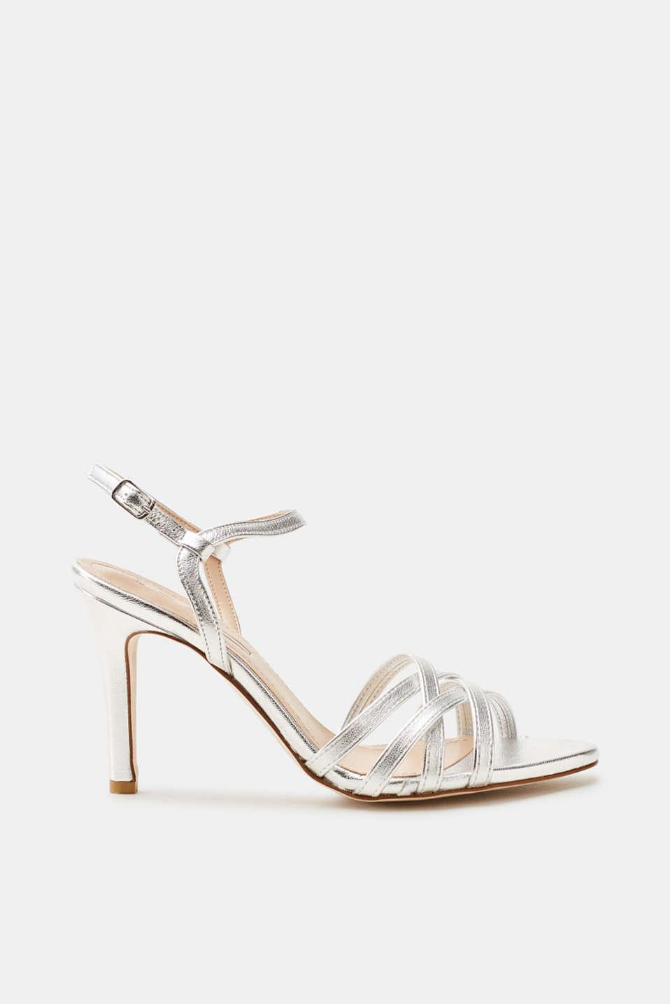 Esprit Metallic-Sandalette in Leder-Optik für Damen, Größe 41, Turquoise