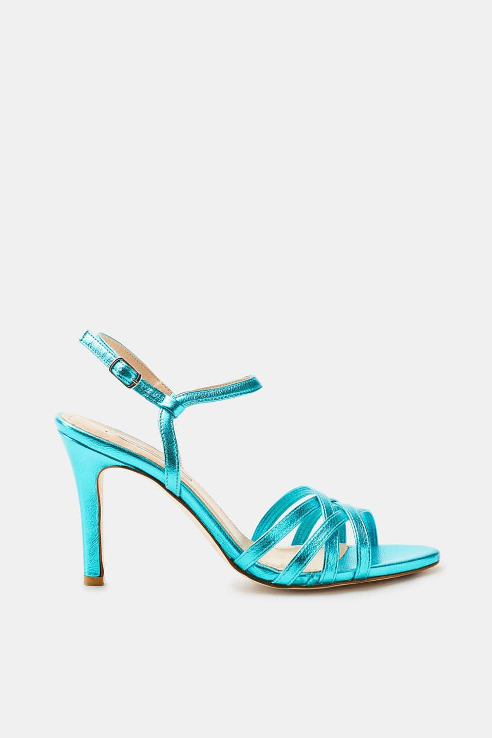 Esprit Metallic-Sandalette in Leder-Optik für Damen, Größe 40, Turquoise