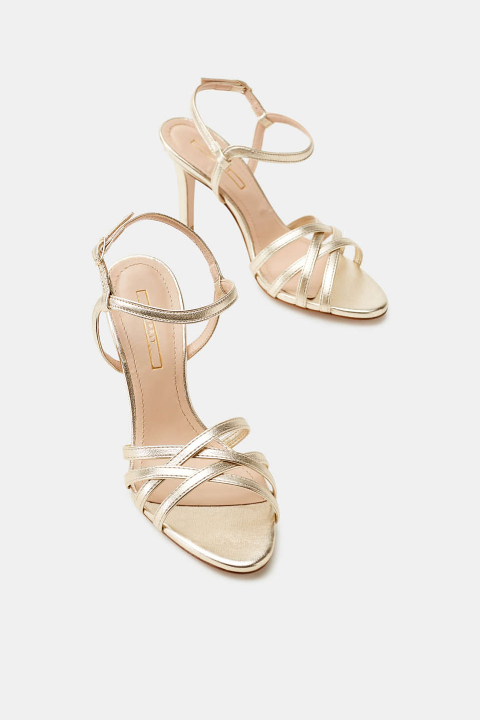 Metallic faux leather sandals