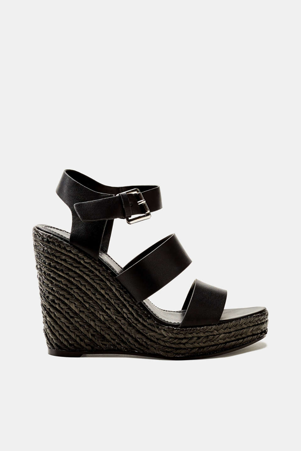 Esprit - Faux leather wedge sandals trimmed with bast
