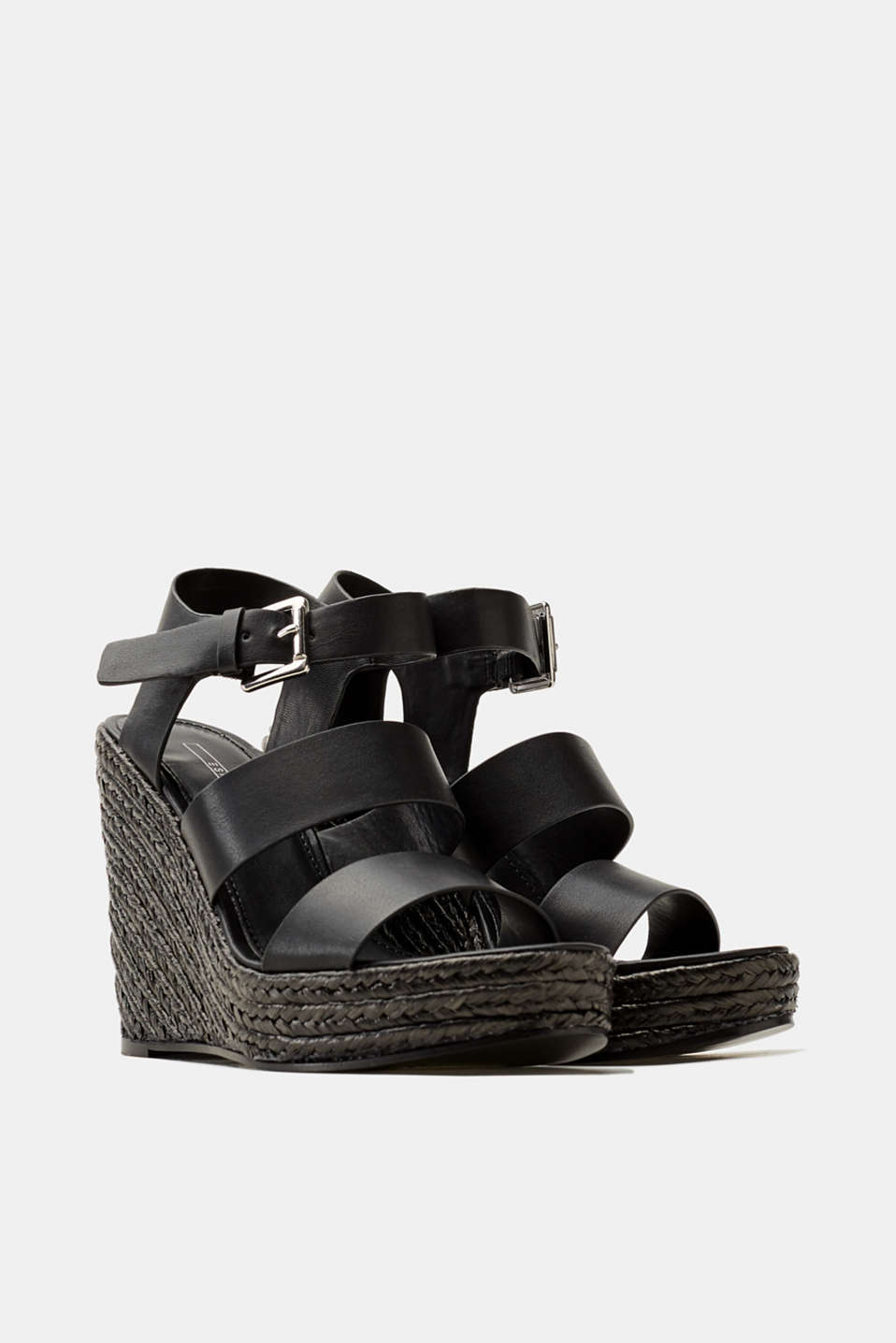 Faux leather wedge sandals trimmed with bast