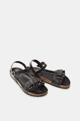Esprit ESPRIT Leder-Sandale mit Fußbett und femininen Rüschen, schwarz, BLACK