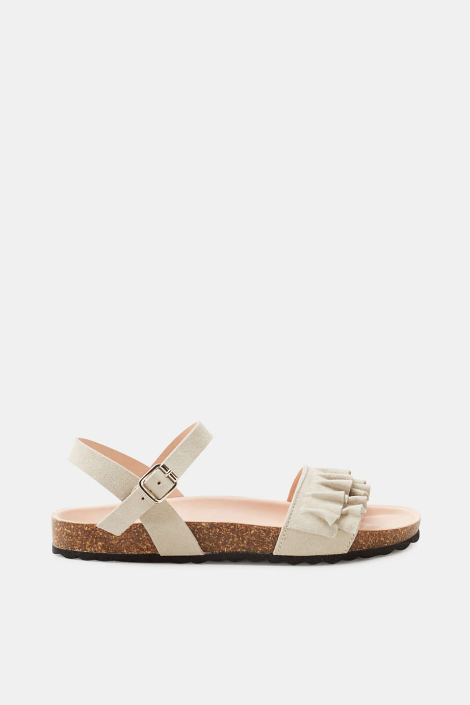 Esprit - Leather sandals with a footbed and feminine frills