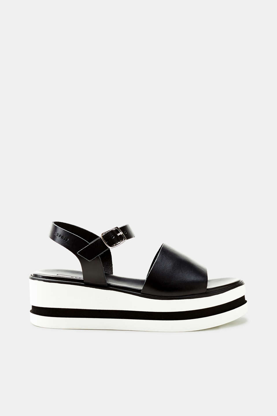 Esprit - Platform sandals with leather straps