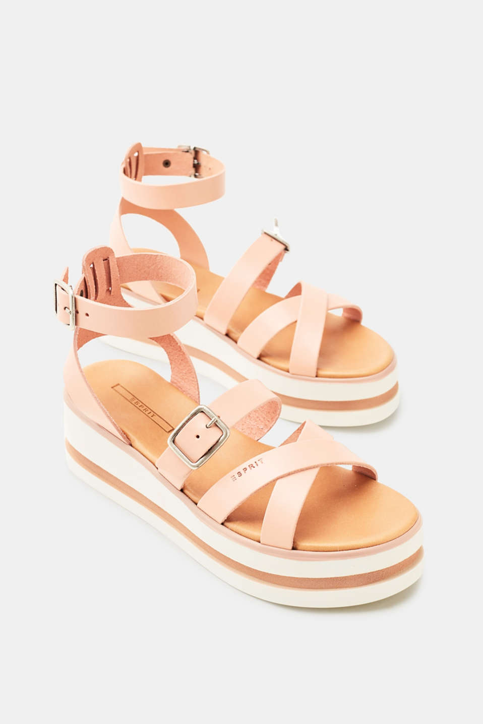 Platform sandals with leather straps