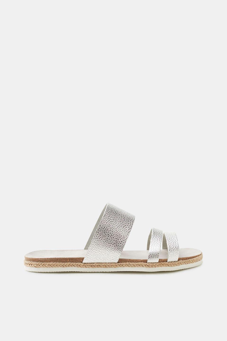 Esprit Plateau-Sandale im trendigen Metallic-Look für Damen, Größe 41, Silver