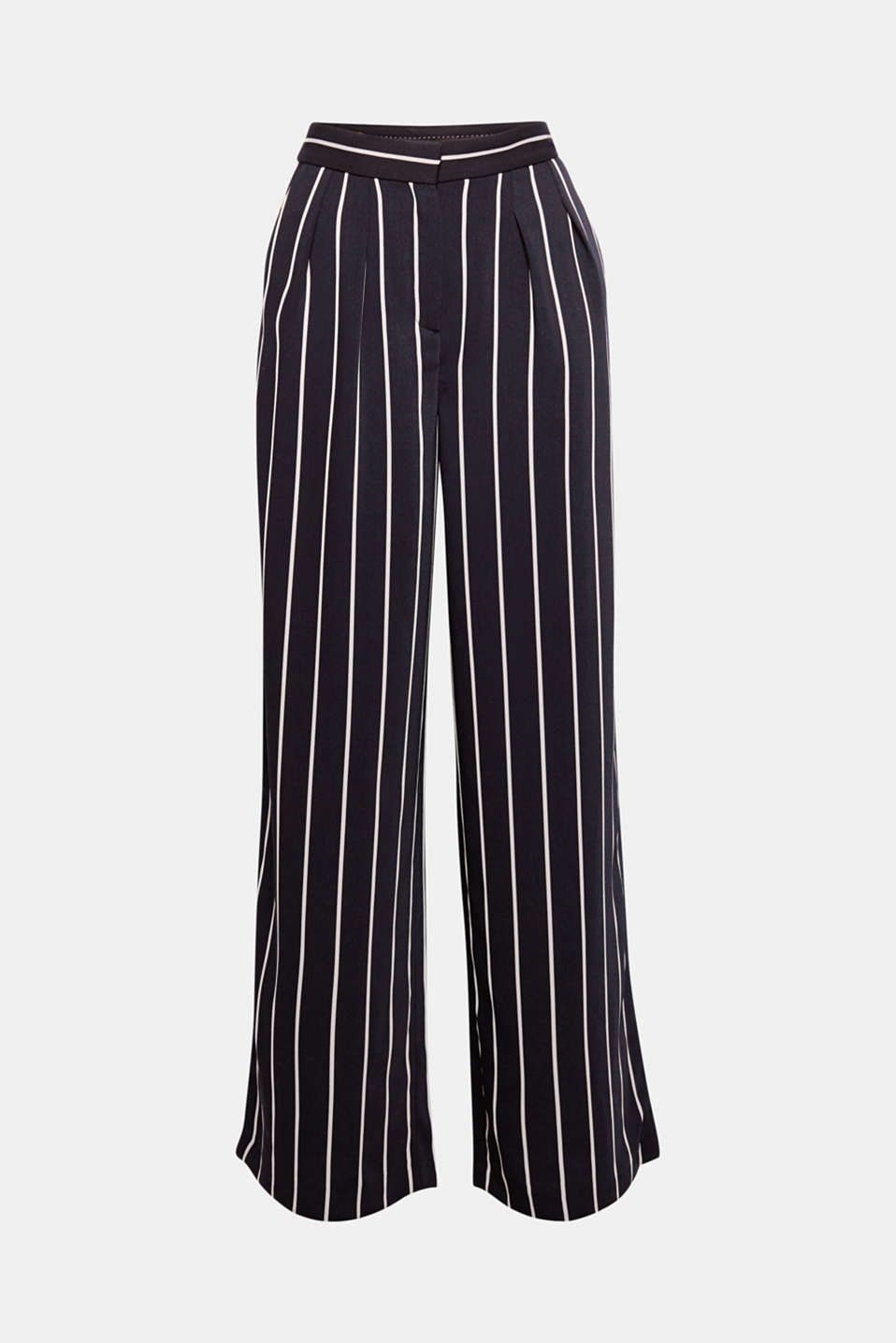Flowing striped trousers with extra wide legs