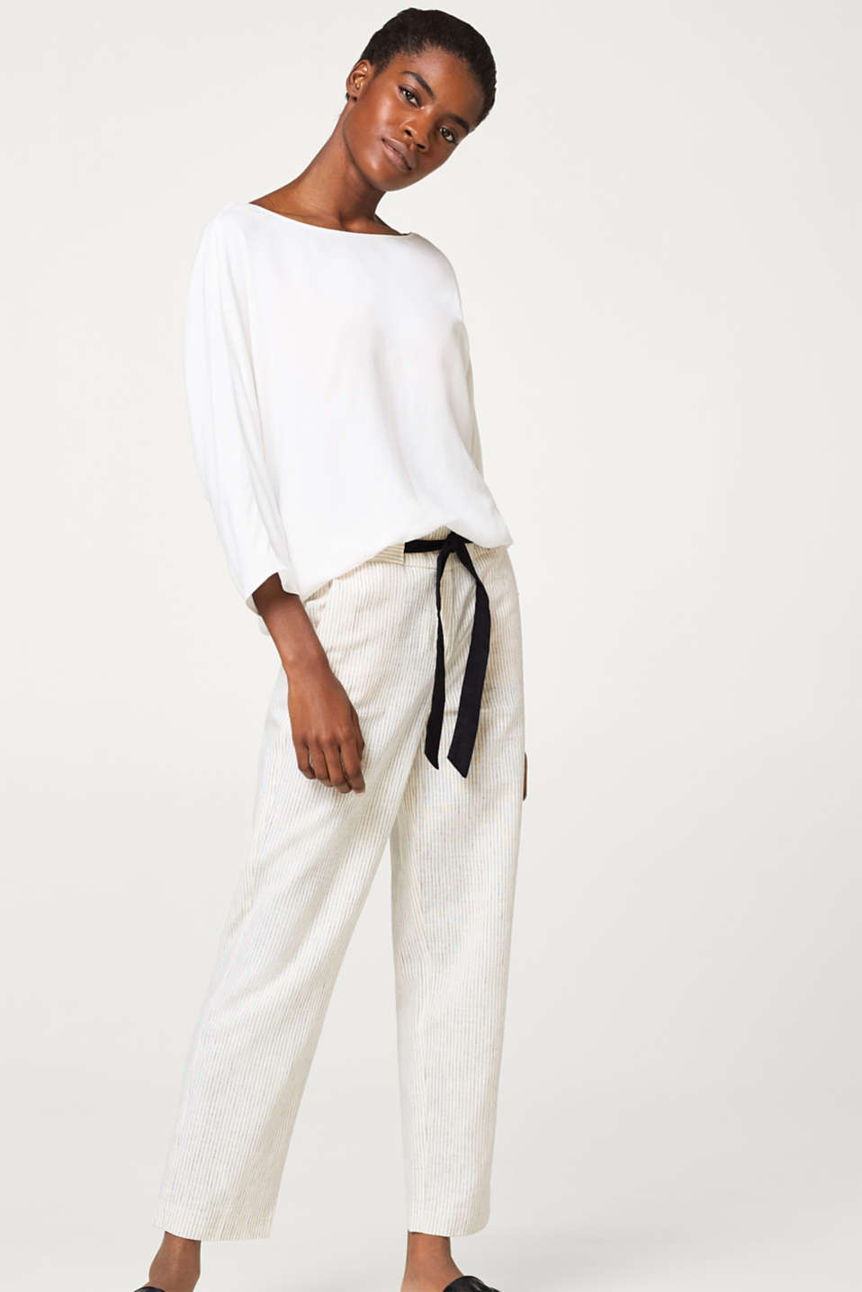 Esprit - Striped blended linen trousers with a drawstring waist