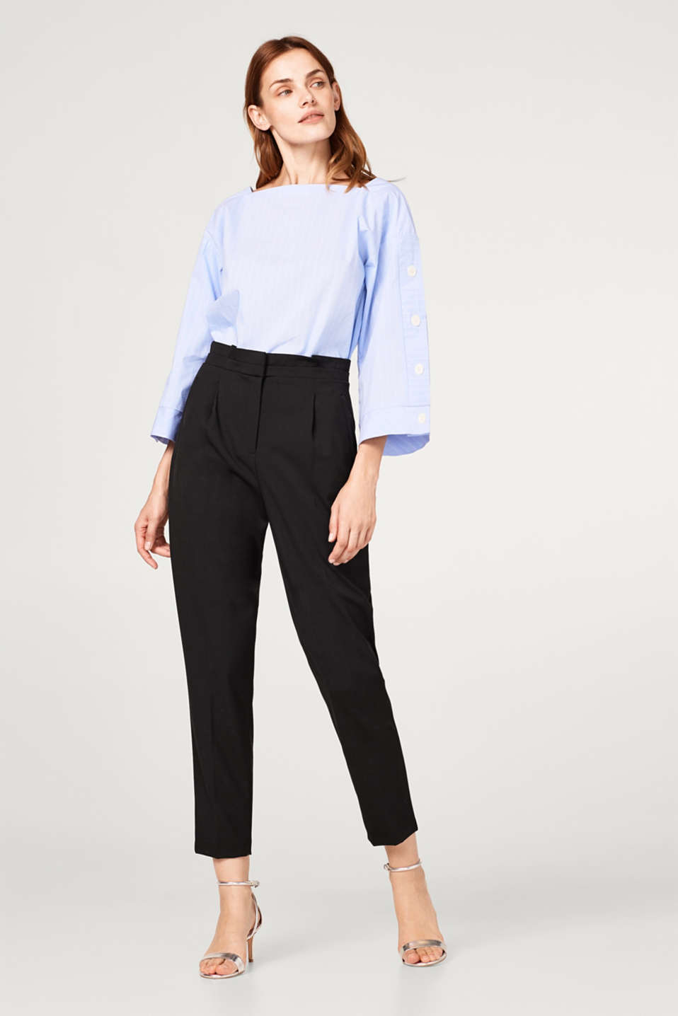 Esprit - Stylish stretch cotton trousers with a paper bag waistband