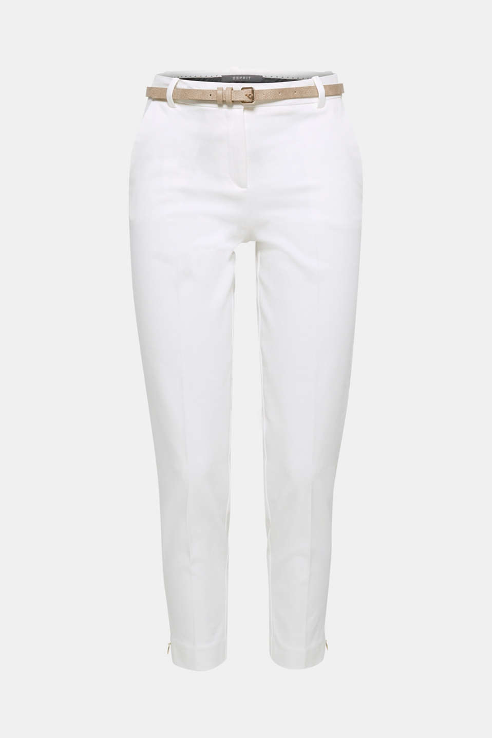 These cropped piqué trousers with added stretch for comfort, narrow belt and side hem zips is summery and chic!