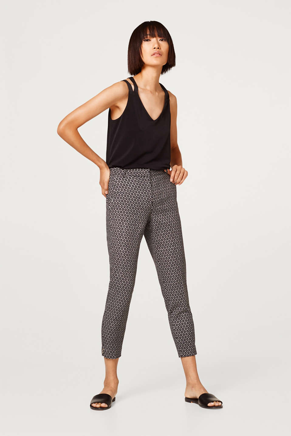 Esprit - Stretch cotton trousers with a print and hem zips