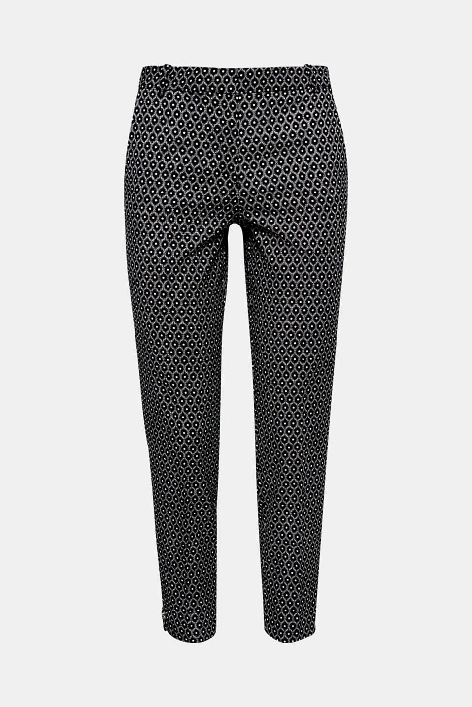 Sporty or chic? These trousers is slightly firm stretch cotton with a modern mini print, cropped leg length and side hem zips can do both!