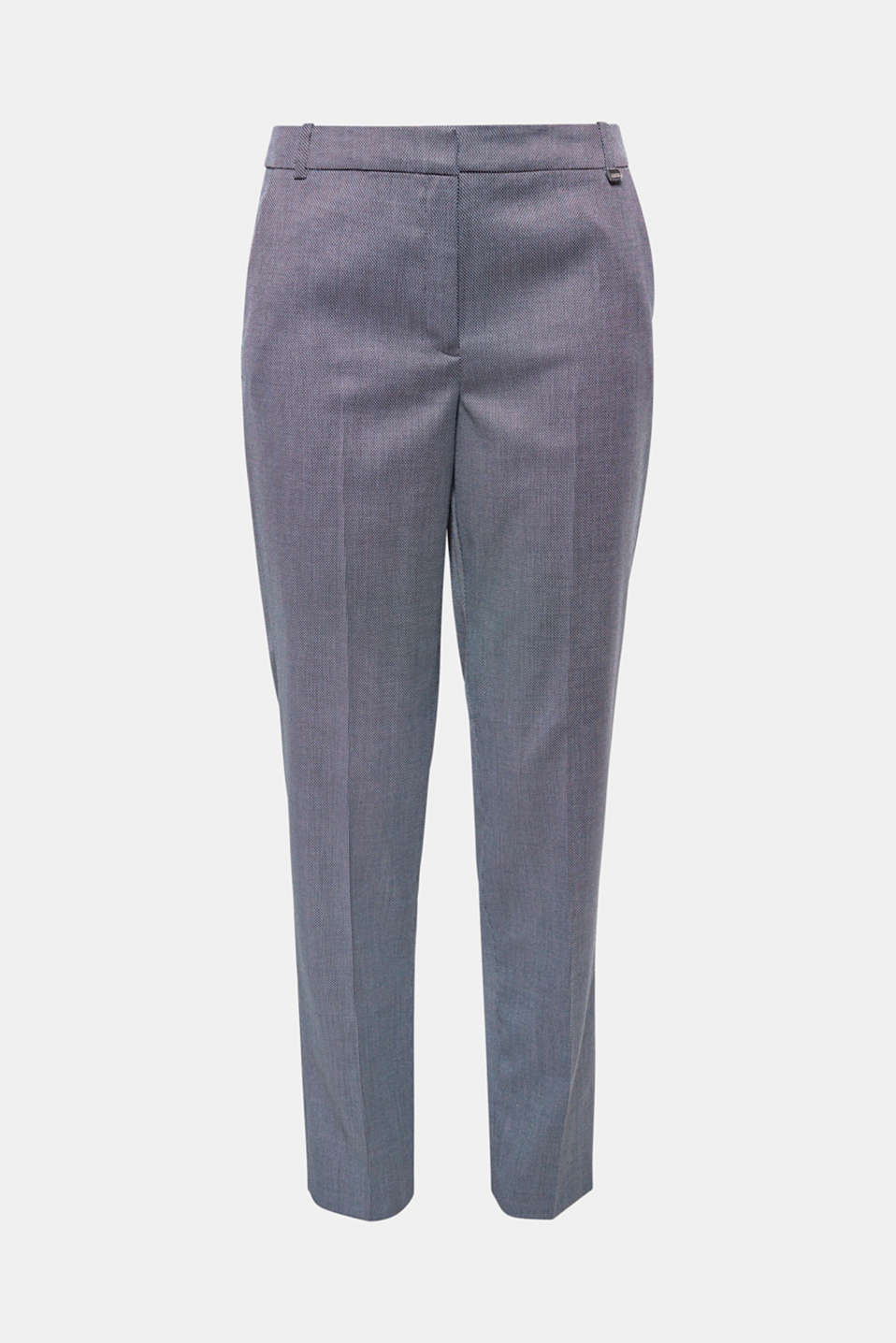The fine two-tone texture and the delicate shimmer of the material make these softly flowing woven trousers with stretch for comfort a summery business style!